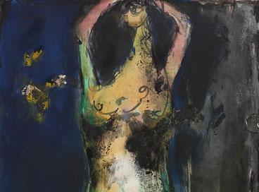 Nü, 1988, 47 x 28.5, karton üzerine suluboya, ekolin boya, kuru boya, çini mürekkebi