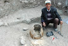 The hearth of a Hittite dwelling unearthed in the Lower City (2010)