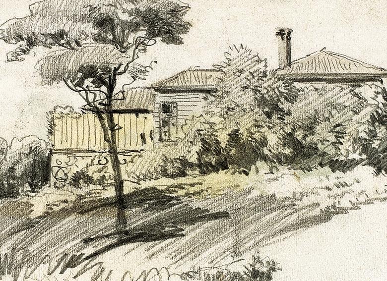 Evler, 12x17 cm, kâğıt üzerine karakalem, Yapı Kredi Resim Koleksiyonu