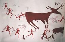 Ren geyiği ya da geyik betimli duvar resminin çizimi