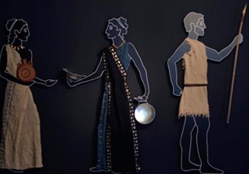 Lidya kadın ve erkeklerinin günlük yaşam ve kıyafetlerini gösteren tasarım uygulaması