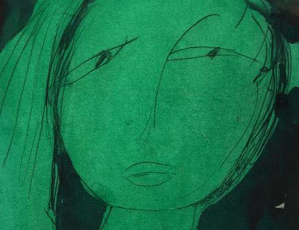 Yeşil Portre, 30 x 22 cm, karton üzerine karışık teknik, Ahmet Merey Koleksiyonu