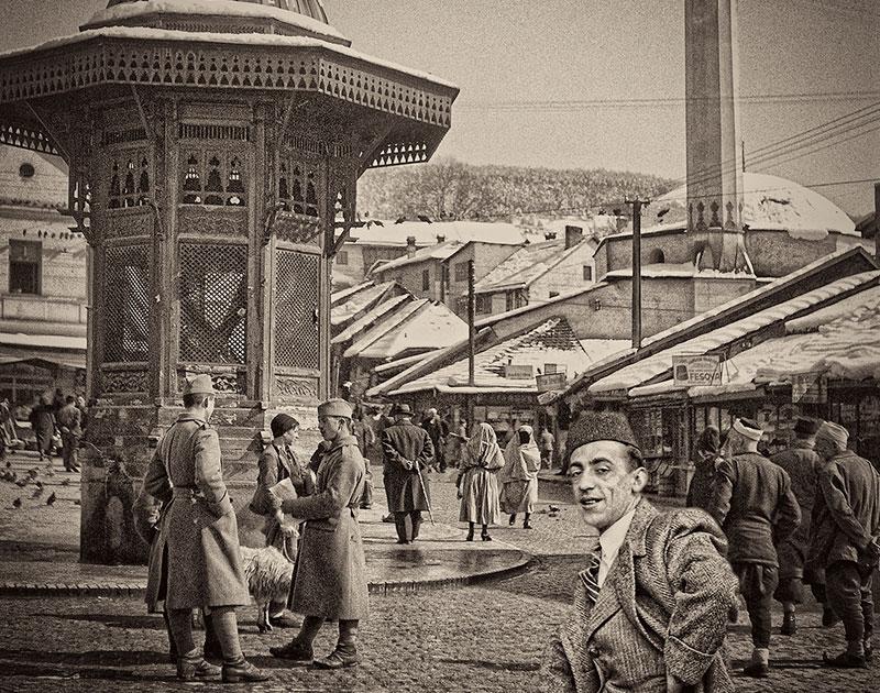Alija M. Akšamija: Bosnian gentlemen in Bašcaršija, Sarajevo, 1939. Mehmed A. Akšamija Photo Collection