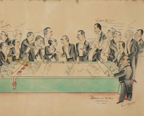 Montreaux Anlaşması, 1939, Anlaşmaya katılan devlet adamlarının özgün imzalarıyla politik karikatür, karton üzerine karışık teknik