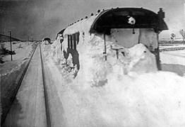 Snowbound train. 3 February 1929
