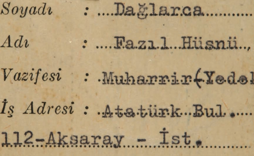 The Yassıada prison entrance card