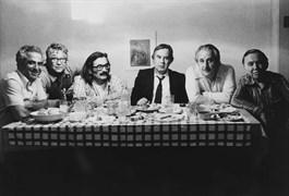 Posing for Lütfi Özkök's camera in Sami Karaören's home: (L to R) Sami Karaören, Lütfi Özkök, Halil İbrahim Bahar, Sabahattin Kudret Aksal, Oktay Akbal and Behçet Necatigil. Late August 1976.