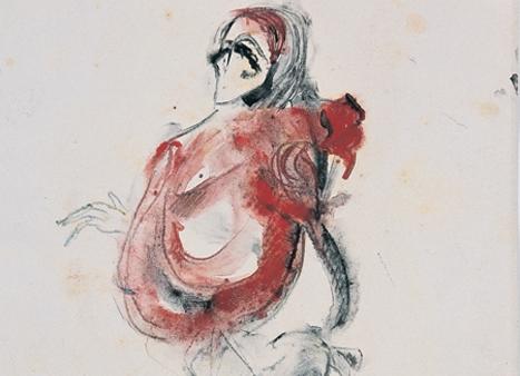 Şeytan, Tiyatro Kostüm Tasarımı, 1963,  Kuşe kâğıt üzerine tüp ucu ile renkli lavi, 24x15 cm