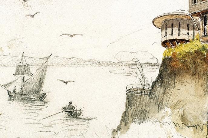 Yalılar ve Yelkenli, 17.3x25 cm, kâğıt üzerine karışık teknik, Yapı Kredi Resim Koleksiyonu