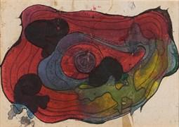 İsimsiz, 2003, 34 x 24 cm, Karton üzerine suluboya, ekolin boya, çini mürekkebi