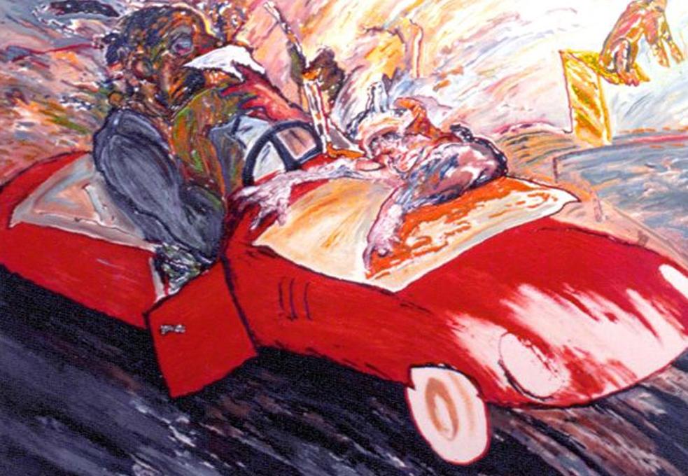 Yarış Arabası / The racing car,130x162 cm. Mustafa Taviloğlu koleksiyonu