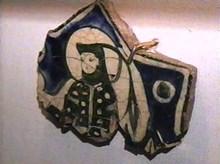 Kubadabad Sarayı'ndan Kadın figürlü çini parçası. 1236, , Konya Karatay Medresesi Müzesi