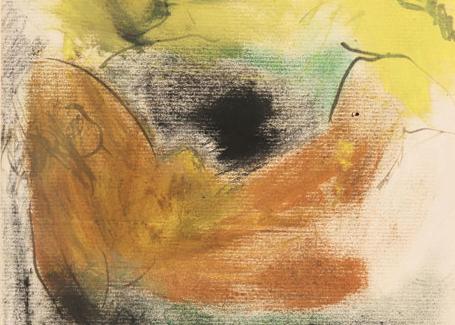 Yatan Nü, 30 x 23 cm, kâğıt üzerine pastel, çini mürekkebi