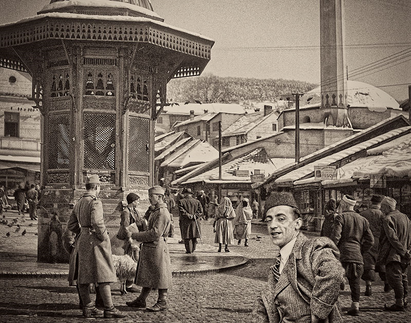 Alija M. Akšamija: Bosnian gentlemen in Bašcaršija, Sarajevo, 1939. Mehmed A. Akšamija Photo Collection
