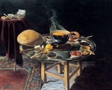 Hoca Ali Rıza, İftar Sofrası, 1910, tuval üzerine yağlıboya, İftar Sofrası, Hoca Ali Rıza'nın şu ana kadar yaptığı en önemli natürmorttur.