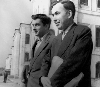 With his student Ergin Sander, 13 March 1957.
