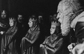 Muhsin Ertuğrul, Neyyire Neyir Ertuğrul, Cahide Sonku and Melek Kobra; King Lear (İstanbul Municipal Theater, 1938)
