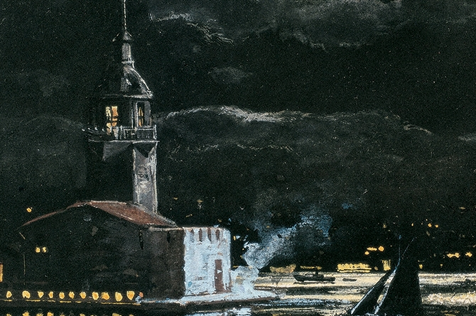 Leander's Tower, 18.5x13 cm, watercolour on card, Yapı Kredi Painting Collection