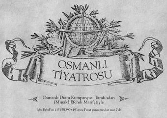 Mardiros Mnagyan yönetimindeki Osmanlı Dram Kumpanyası'nın 19 Eylül 1899'da Kadıköy Kuşdili Çayırı'nda sahnelediği Paris Paçavrası adlı oyunun afişi