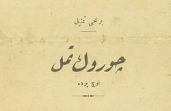 Darülbedayi'nin Tepebaşı Kışlık Tiyatrosu'nda Türkçe olarak sahnelediği Çürük Temel adlı oyunun broşürü, 1331 [1915]