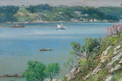 Bosphorus from the Hills of Çubuklu, AH 1342 (AD 1926), 31.7x52.2 cm, oil paint on canvas, Lucien Arkas Collection
