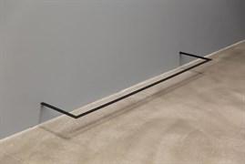 """Step"", 2020. 25 mm black anti-slip tape, iron profile, sheet metal, lacquer. 0.35 x180 x 35 cm, Produced, performed: Habib Bolat, Zühtü Okutan, Deniz Gül. Photo: Koray Şentürk"