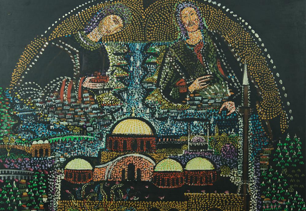 Bedri Rahmi Eyüboğlu, Kariye, 1955, Kontralit üzerine