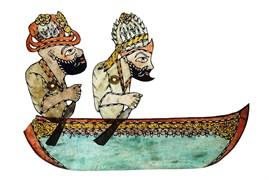 Karagöz and Hacivat on a caicque, Ragıp Tuğtekin, 25,7 x 36,5 cm, Yapı Kredi Museum 4-68