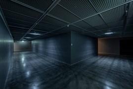 """Passage"", 2020. Emergency led lighting (white), corridor, grey paint. Site specific dimensions. Produced, performed: Erdoğan Morgül, Deniz Gül. Photo: Zeynep Fırat"