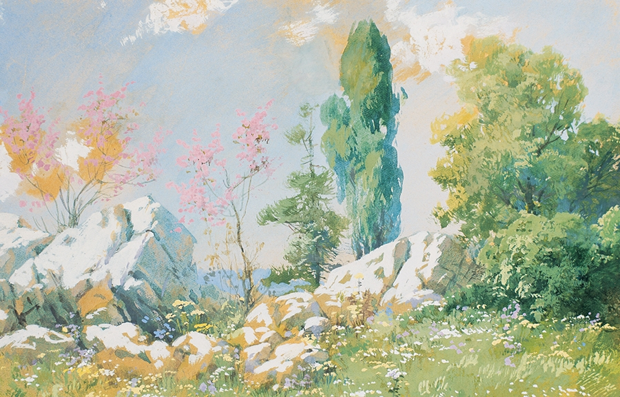 Landscape, AH 1338 (AD 1922), 20x27 cm, gouache on card, Private Collection