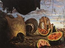 Giorgio de Chirico Cocomeri con corazze e paesaggio 1924, tuval üzerine yağlıboya, 74 x 100 cm