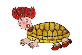 Karagöz'ün Oğlu (Kaplumbağa), Ragıp Tuğtekin, 18,7 x 20 cm, Yapı Kredi Müzesi 4-124